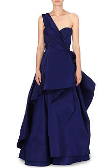 OSCAR DE LA RENTA Long-length silk ruffle gown