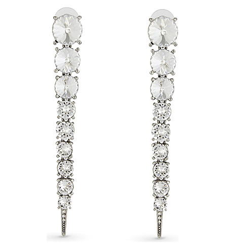 OSCAR DE LA RENTA Single tendril crystal earrings (Crystal
