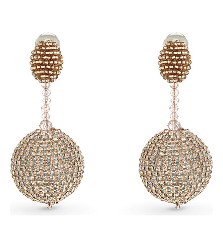 OSCAR DE LA RENTA Sorbet beaded drop earrings (Sorbet