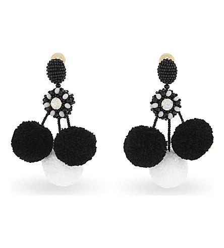 OSCAR DE LA RENTA Triple pom pom earrings (Black+and+white