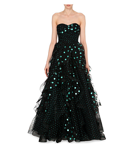 OSCAR DE LA RENTA Embroidered polka-dot tulle gown (Black