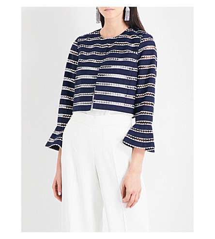 OSCAR DE LA RENTA Striped tulle cropped jacket (Navy/white