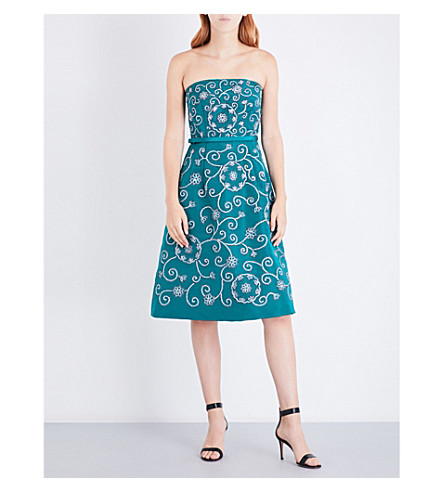 OSCAR DE LA RENTA Strapless swirl-embroidered silk dress (Emr+w/blk/wht