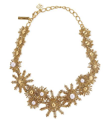 OSCAR DE LA RENTA Sun and pearl charm necklace (White
