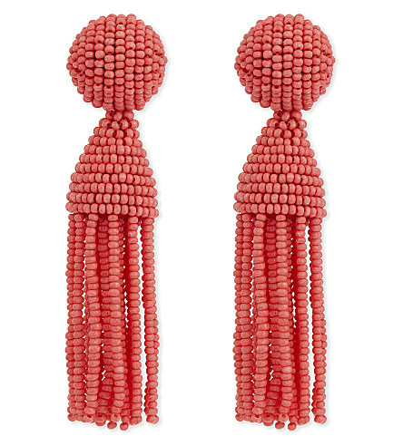 OSCAR DE LA RENTA Classic tassel clip-on earrings (Coral