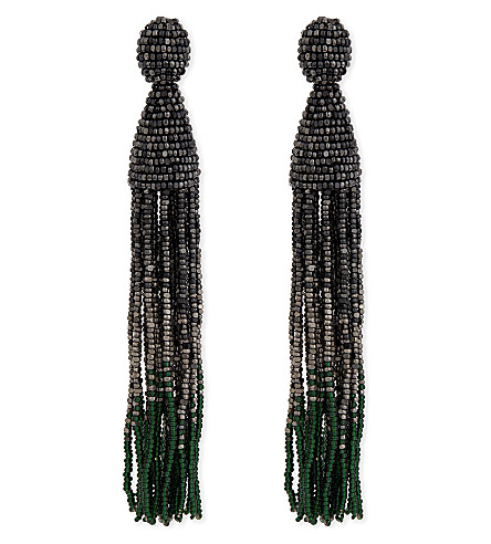 OSCAR DE LA RENTA Ombré long tassel clip on earrings (Gun+metal