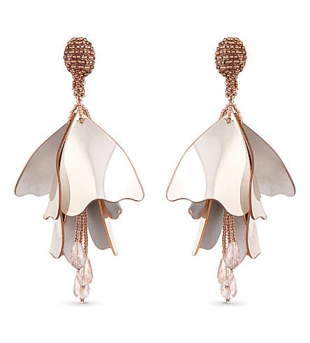 OSCAR DE LA RENTA Impatiens flower drop clip-on earrings (Met.+rose+gold