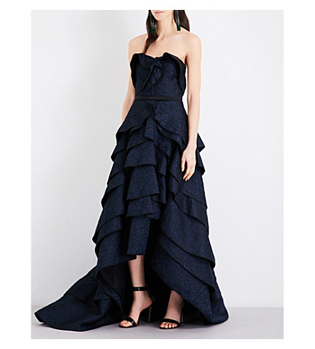 OSCAR DE LA RENTA Tiered ruffled floral silk-cloqué gown (Navy