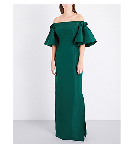 OSCAR DE LA RENTA Off-the-shoulder silk-satin gown (Evergreen