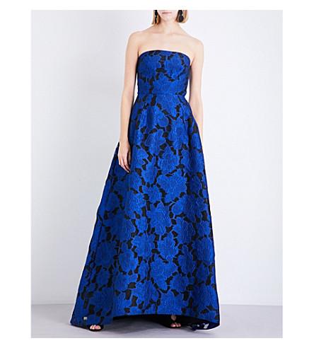 OSCAR DE LA RENTA Strapless lace-embroidered cloqué gown (Lapis