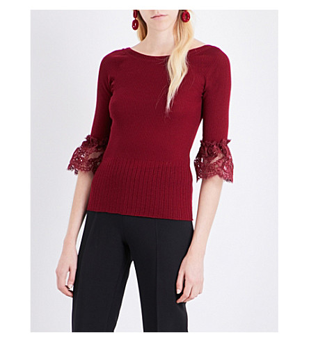 OSCAR DE LA RENTA Lace-sleeves wool top (Bordeaux