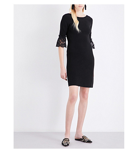 OSCAR DE LA RENTA Lace-sleeves wool dress (Black
