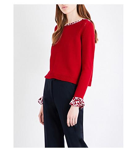 OSCAR DE LA RENTA Bow-tied wool sweater (Garnet