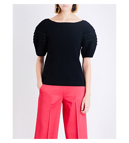 OSCAR DE LA RENTA Embroidered puff-sleeve wool-blend top (Black
