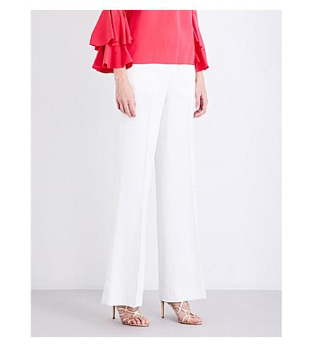 OSCAR DE LA RENTA Wide high-rise crepe trousers (Ivory