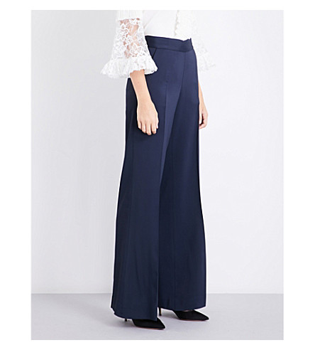 OSCAR DE LA RENTA Wide-leg stretch-crepe trousers (Navy