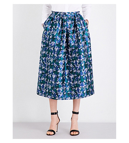 OSCAR DE LA RENTA Printed silk-mikado midi skirt (Malachite+multi