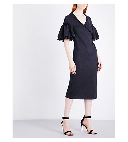 OSCAR DE LA RENTA Ruffled stretch-jersey wrap dress (Navy