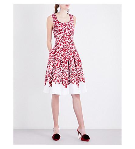 OSCAR DE LA RENTA Abstract-print cotton-blend dress (White/garnet