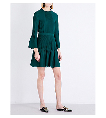 OSCAR DE LA RENTA Pintuck-pleat silk-chiffon dress (Malachite