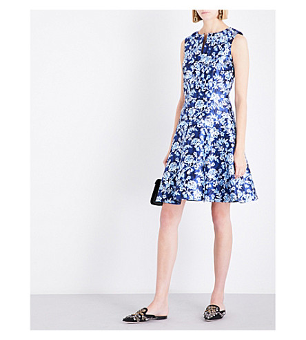 OSCAR DE LA RENTA Graphic floral-print silk-blend mini dress (Lapis