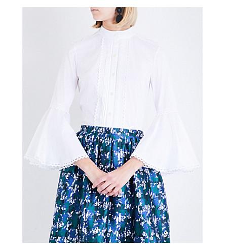 OSCAR DE LA RENTA Pintuck-pleat bell-sleeve poplin shirt (White