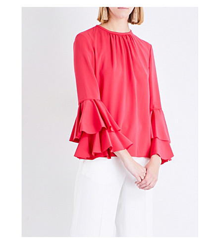 OSCAR DE LA RENTA Tiered bell-sleeve stretch-silk top (Tourmaline