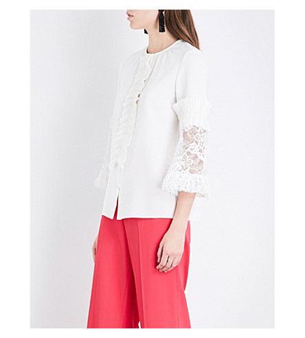 OSCAR DE LA RENTA Lace-detailed stretch-silk top (Ivory