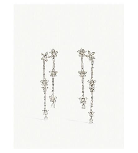 OSCAR DE LA RENTA Floral crystal drop earrings (Ant.+silver