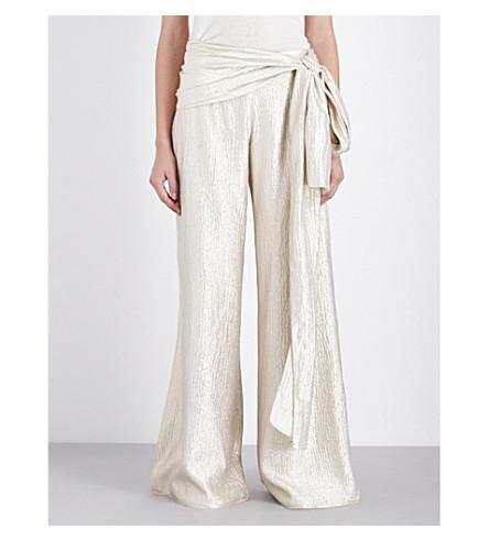 OSCAR DE LA RENTA Wide-leg metallic silk-blend trousers (Pale+gold
