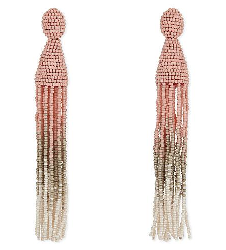 OSCAR DE LA RENTA Ombre tassel drop earrings (Pink