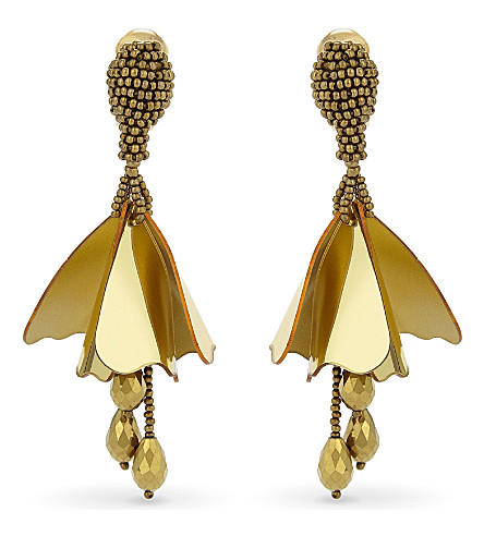 OSCAR DE LA RENTA Impatiens crystal drop earrings (Gold