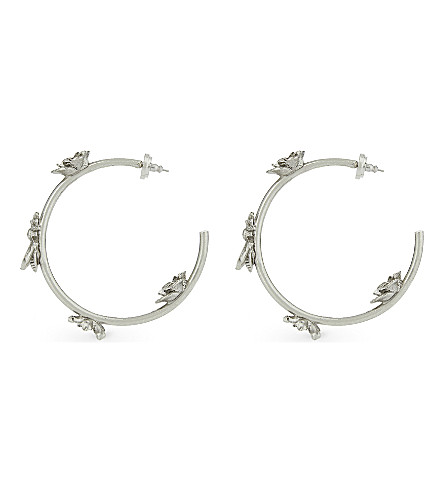 OSCAR DE LA RENTA Floral applique hoop earrings (Ant.+silver
