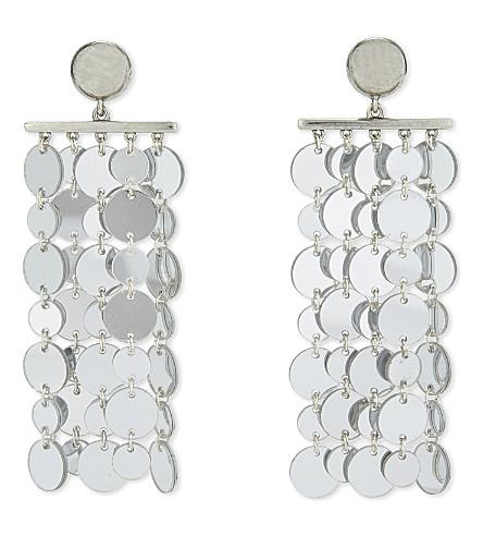 OSCAR DE LA RENTA Circle tassel drop earrings (Silver