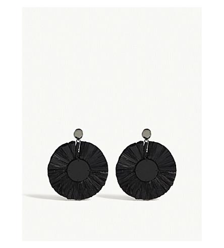 OSCAR DE LA RENTA Raffia disk stud earrings (Black