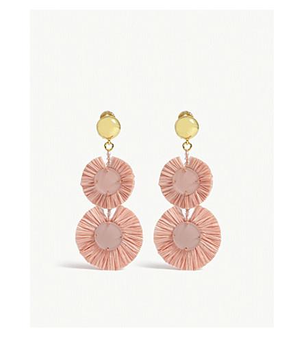 OSCAR DE LA RENTA Raffia disk earrings (Grapefruit