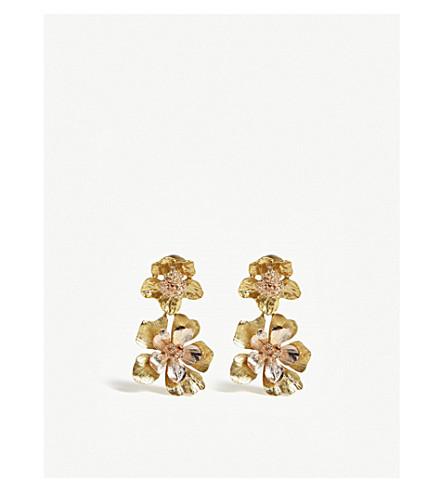OSCAR DE LA RENTA Flower drop metal earrings (Gold