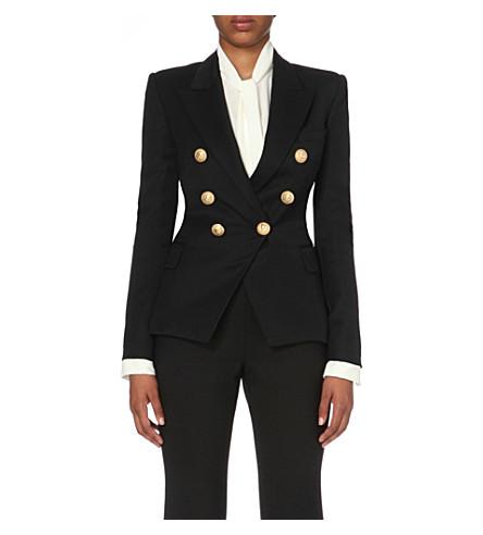 BALMAIN Double-breasted virgin wool jacket (Noir