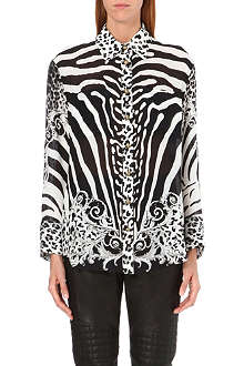 BALMAIN Animal-print silk shirt