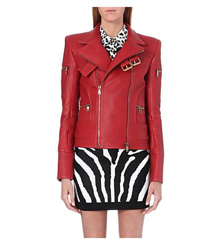 BALMAIN Leather biker jacket (Red