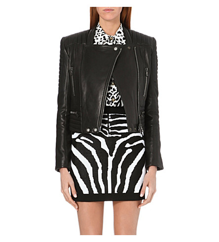 BALMAIN Leather biker jacket (Black