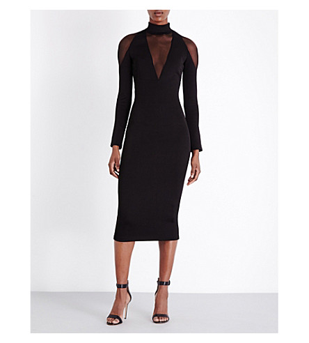 BALMAIN Sheer-panelled stretch-knit and tulle dress (Noir