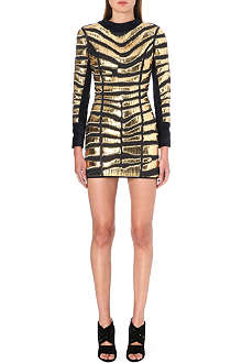 BALMAIN Woven metallic leather dress