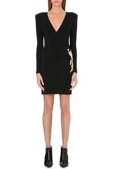 BALMAIN Wrap-style embellished crepe dress