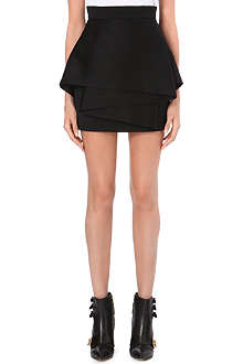 BALMAIN Layered wool skirt