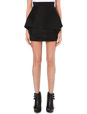 BALMAIN Layered wool skirt