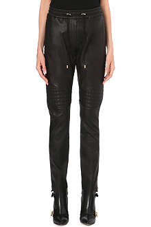 BALMAIN Quilted-panel leather trousers