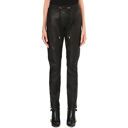 BALMAIN Quilted-panel leather trousers (Black