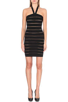 BALMAIN Halterneck sheer-stripe dress