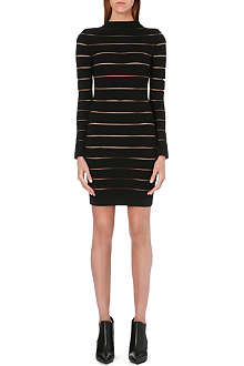 BALMAIN Long-sleeved sheer-detail dress